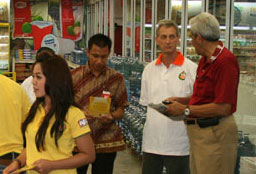 Researchers in an Indonesian supermarket