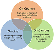 A venn diagram showing the intersecting concepts of the program including the On-Campus, On-Line and On-Campus.