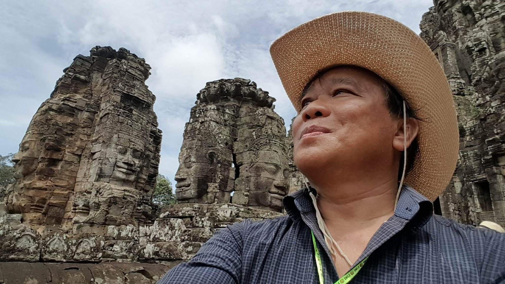 Anurak Panyanuwat at a historical site in Cambodia