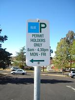 Blue Permit Parking Sign