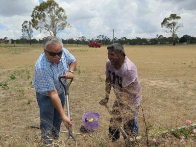 Aboriginal elder Steve Widders with Colin Ahoy