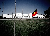 Aboriginal flag in front of Parliament House in Canberra.