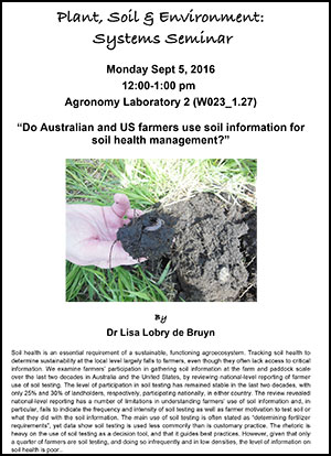 Lisa Lobry de Bruyn seminar poster