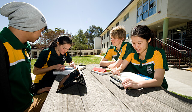 Students studying together at an outdoor table in Mary White College courtyard