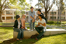 Students sitting in the Central Courtyard thumbnail