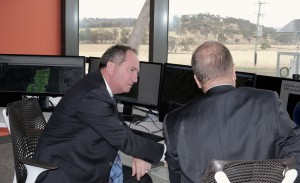 UNE's Professor David Lamb (right) explaining SMART Farm systems to the Hon Barnaby Joyce MP, Federal Minister for Agriculture