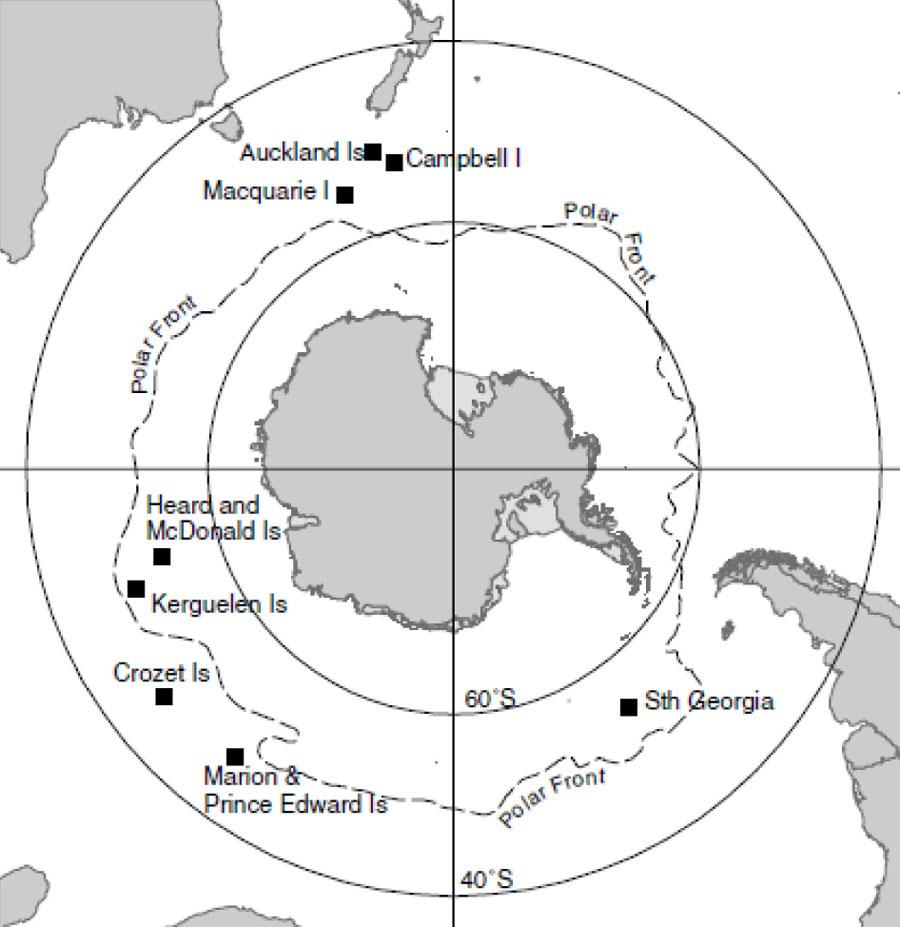 Map of Sub Antarctica
