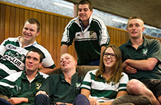 Group of Robb College students on lounge in common room