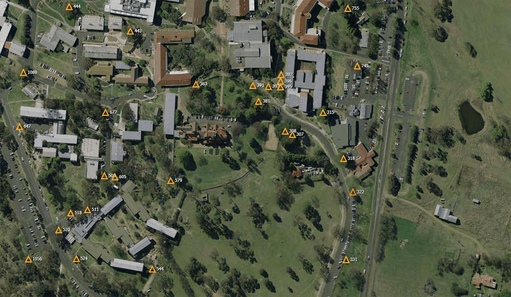 Map of UNE campus showing position of trees marked for removal