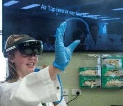 Student using Microsoft Hololens in a clinical laboratory setting