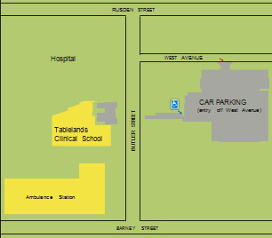 Map of the UNE Medical Centre location at 110 Butler Street, near Armidale Hospital