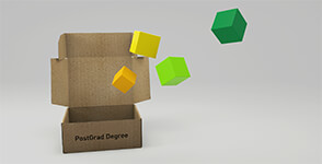 Cardboard box marked PostGrad Degree opening to release smaller coloured boxes