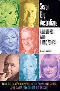 Book cover with collage of Australian comedians