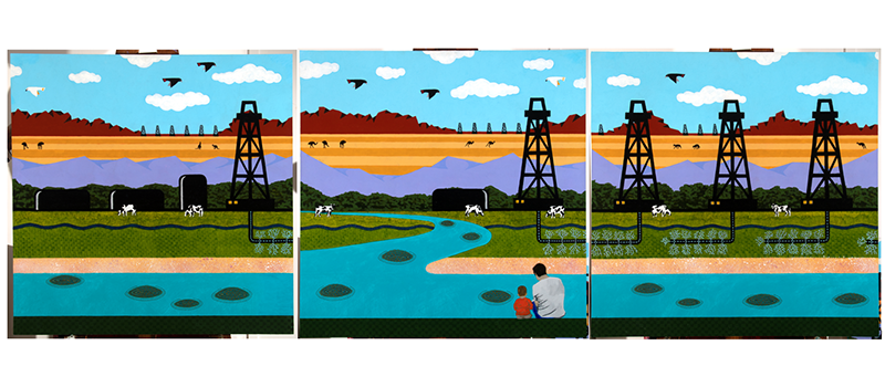 Three artworks in simplistic developed rural scene of a river and power station in bright blocky colours