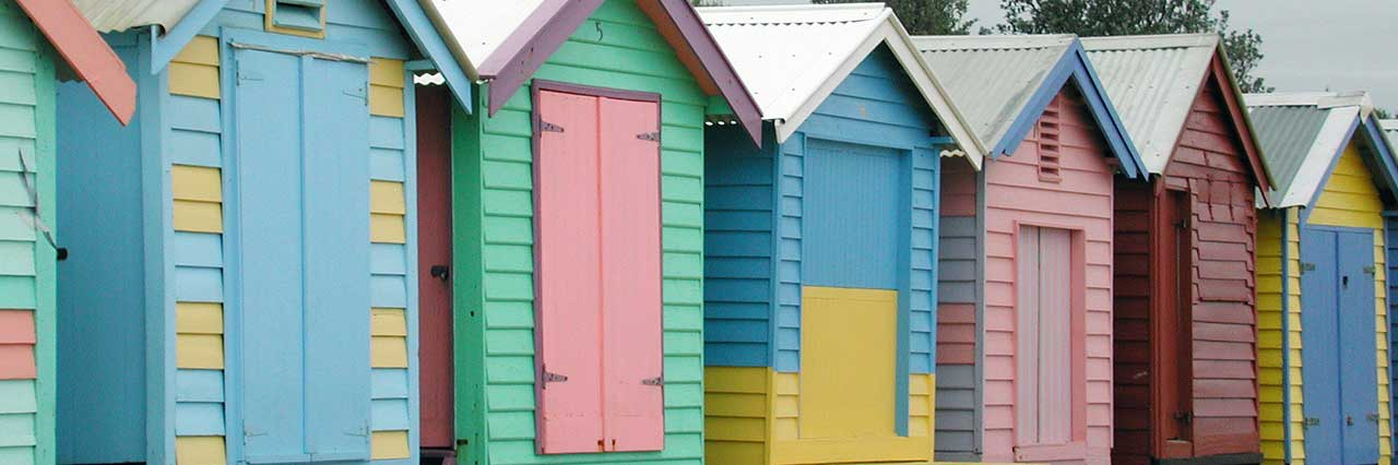 Colourful Melbourne beach change houses