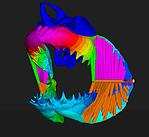 Computer generated 3D map of animal jaw