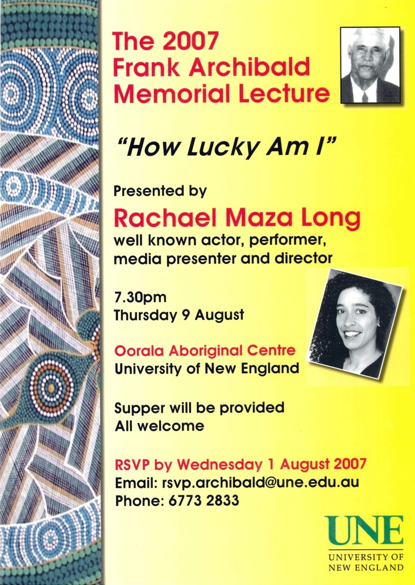 2007 Rachel Maza Long lecture poster
