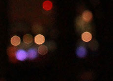 Bright lights on a black background.