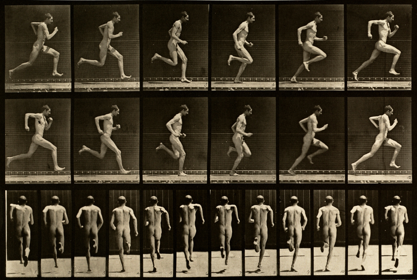 Series of vintage photographs showing nude male figure in different stages of running motion from side and back