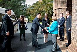 The Vice Chancellor meeting Japanese delegation outside Booloominbah.