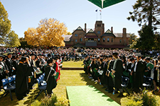Graduates at the Autumn Graduation Ceremony on the Booloominbah lawns thumbnail