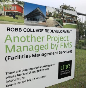 Construction signage at Robb College redevelopment site