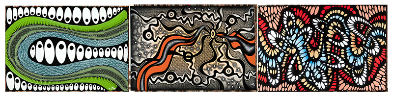 A montage of three artworks by Brentyn Lugnan based on traditional Aboriginal geometric forms and shape patterns with modern bright colours