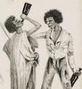 Illustration of two men drinking from long neck bottles