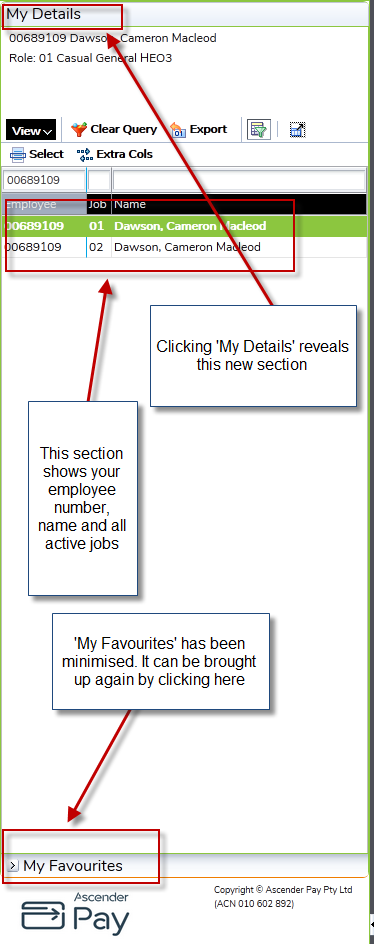image showing my details section