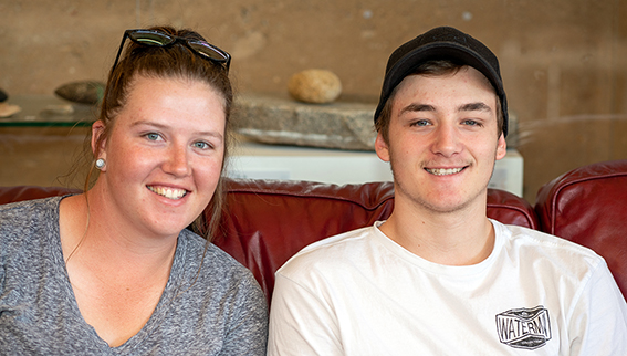 Kaitlin and Josh; students at Oorala