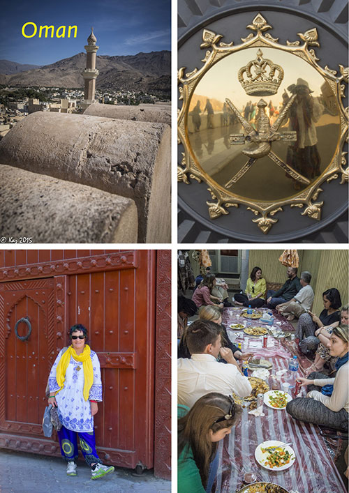 picture collage of pictures showing Kaz Thorpe's study tour to Omantourist attractions