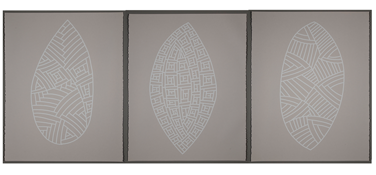 Three paintings of simple, stylised shields featuring different line patterns