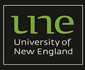 What not to do with UNE logo - add an outline