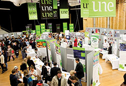 UNE Open Day stalls in Lazenby Hall