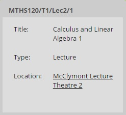 Additional Timetabled Activity Information