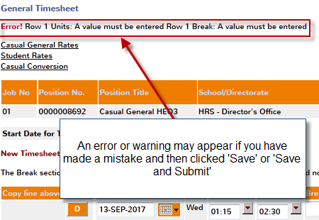 timesheet error message image