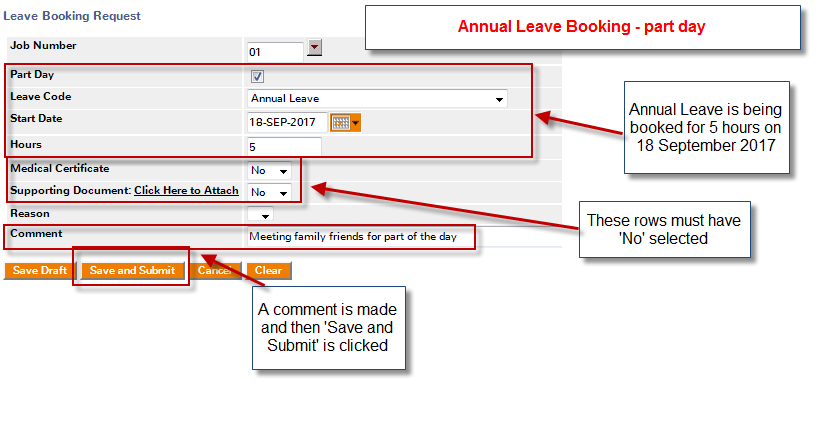 annual leave part day booking request image