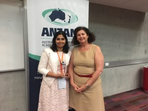 Dr Sujana Adapa at ANZAM with Conference Chair Professor Lisa Bradley of QUT