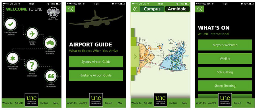 Four green and black screenshots of the app that show the homepage, airport guide, campus map and events.