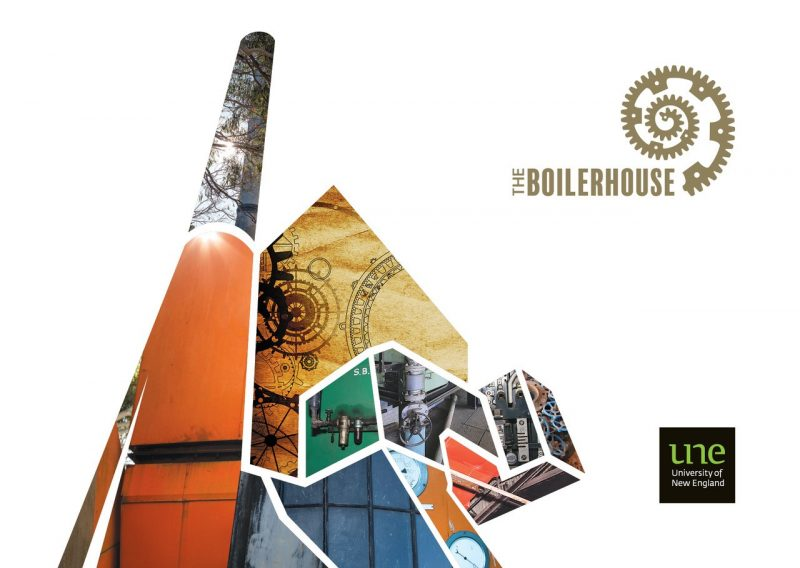 Graphic representation of The Boilerhouse with Boilerhouse logo and University of New England logo