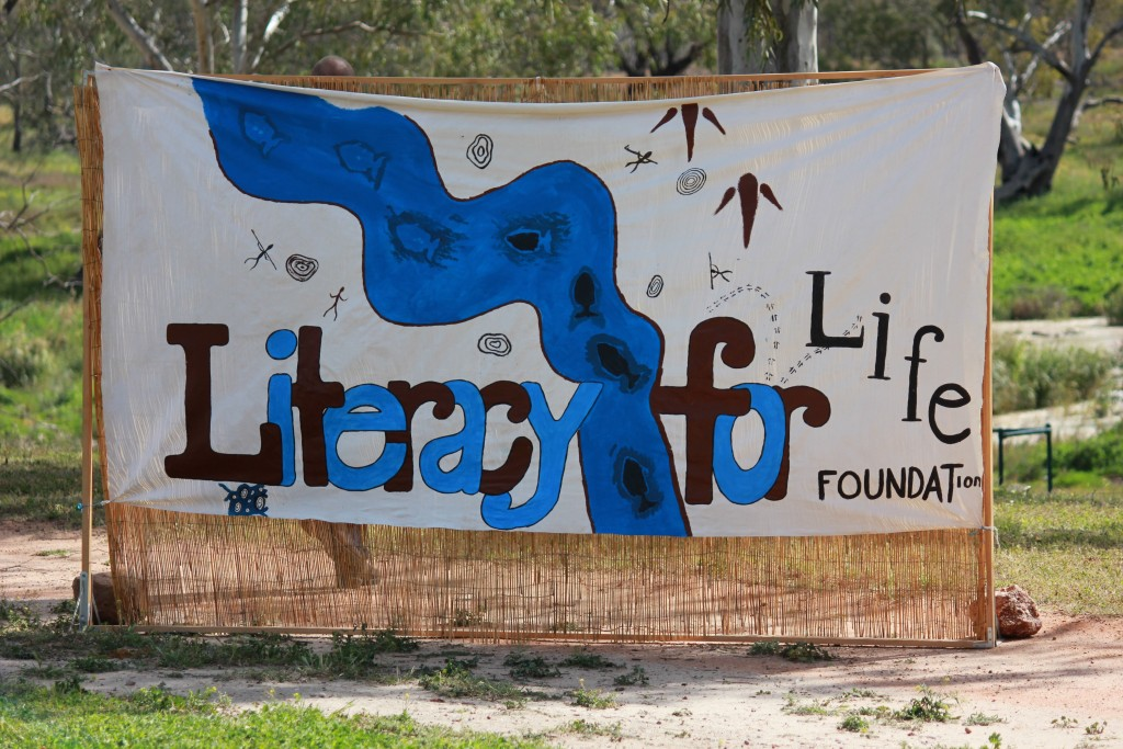 Hand painted Literacy for Life banner