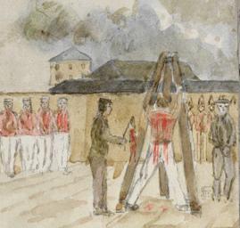 19th century watercolour of a convict flogging.
