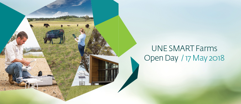 Compilation of images taken at UNE SMART Farm and text describing upcoming open day event on 17th May 2018 @ SMART Farm